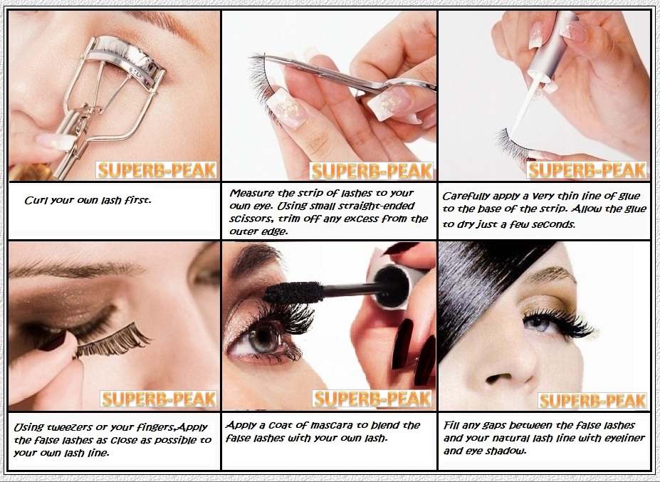how to put on false lashes with glue